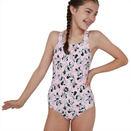 SPEEDO GIRLS MINNIE MOUSE SWIMSUIT.PINK ALLOVER ENDURANCE SWIMMING COSTUME SS20